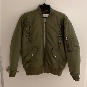 Lace-up distressed IRO bomber